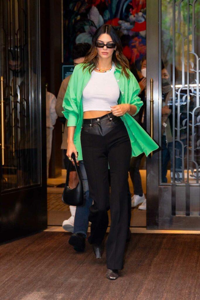 Kendall Jenner in a Green Shirt