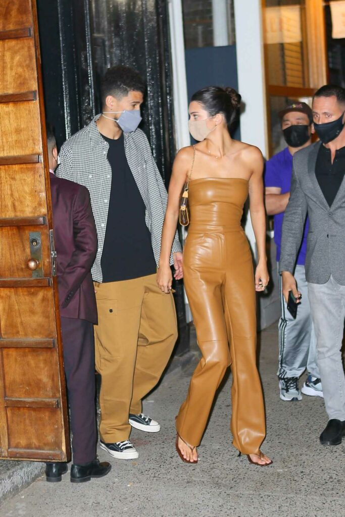 Kendall Jenner in a Tan Leather Outfit