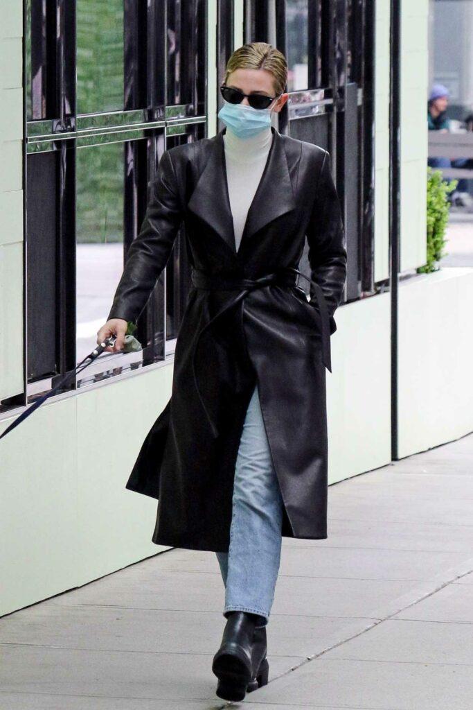Lili Reinhart in a Black Leather Coat