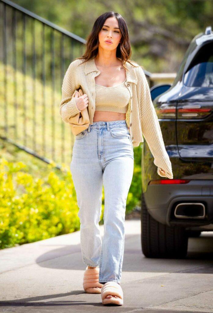 Megan Fox in a Beige Cardigan