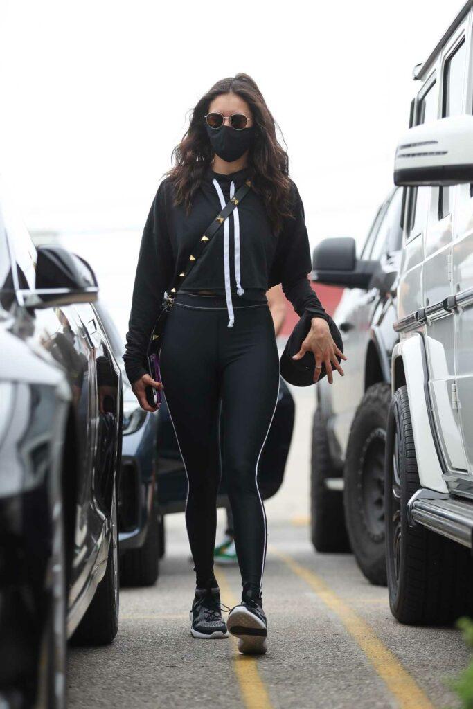 Nina Dobrev in a Black Outfit