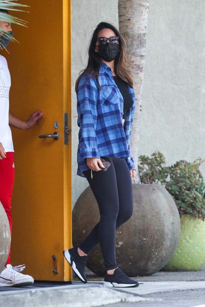 Olivia Munn in a Blue Plaid Shirt