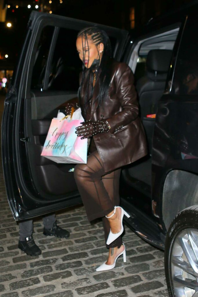 Rihanna in a Brown Leather Blazer