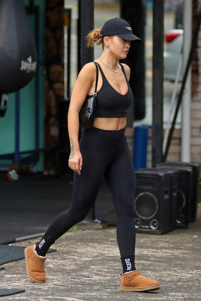 Rita Ora in a Black Sports Bra