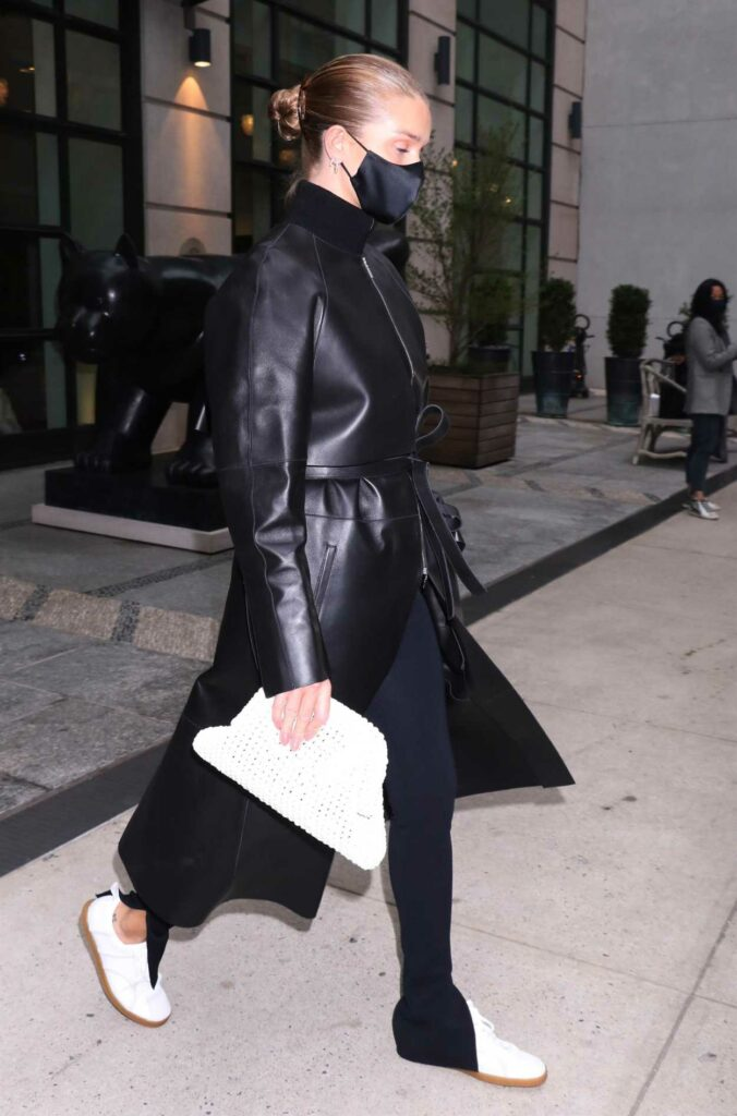 Rosie Huntington-Whiteley in a Black Leather Coat