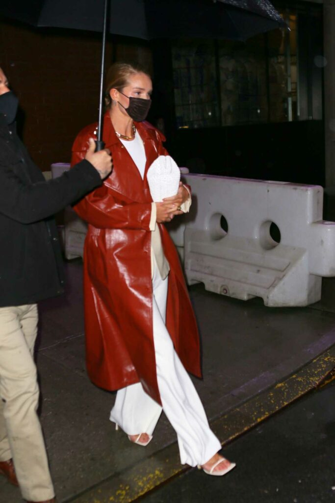 Rosie Huntington-Whiteley in a Tan Leather Coat