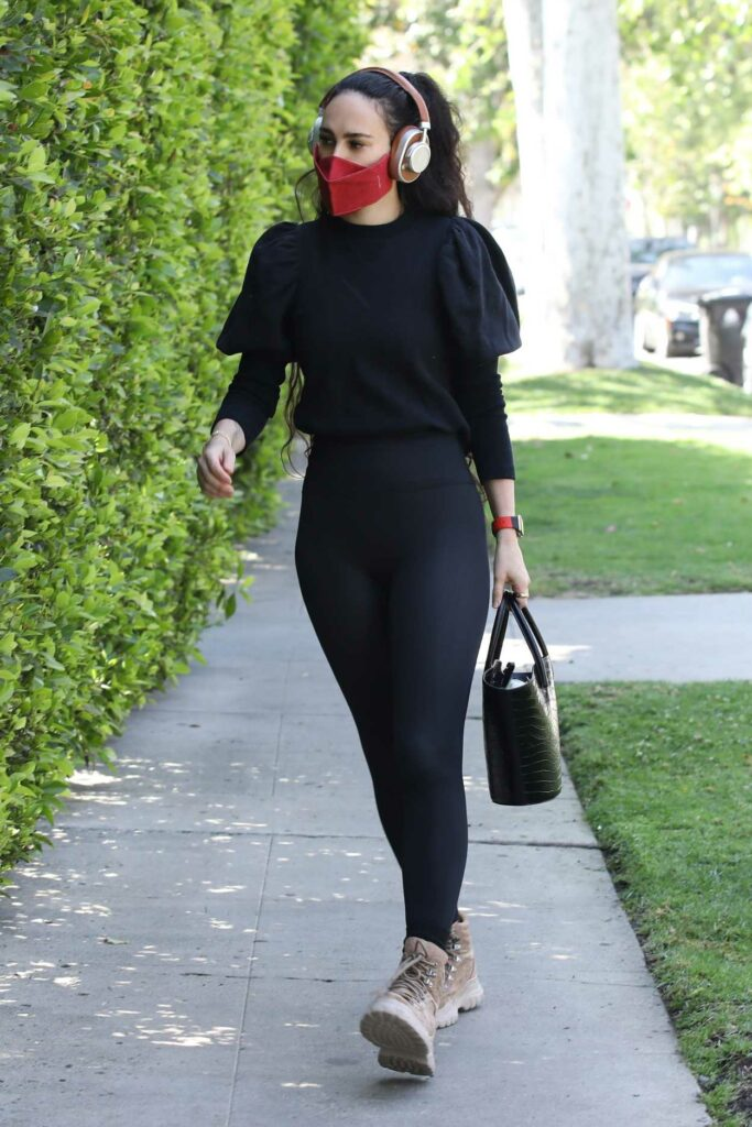 Rumer Willis in a Red Protective Mask