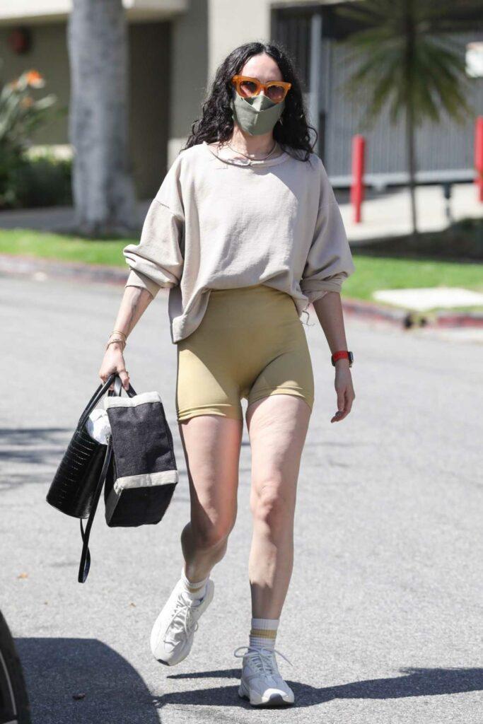 Rumer Willis in a Yellow Spandex Shorts