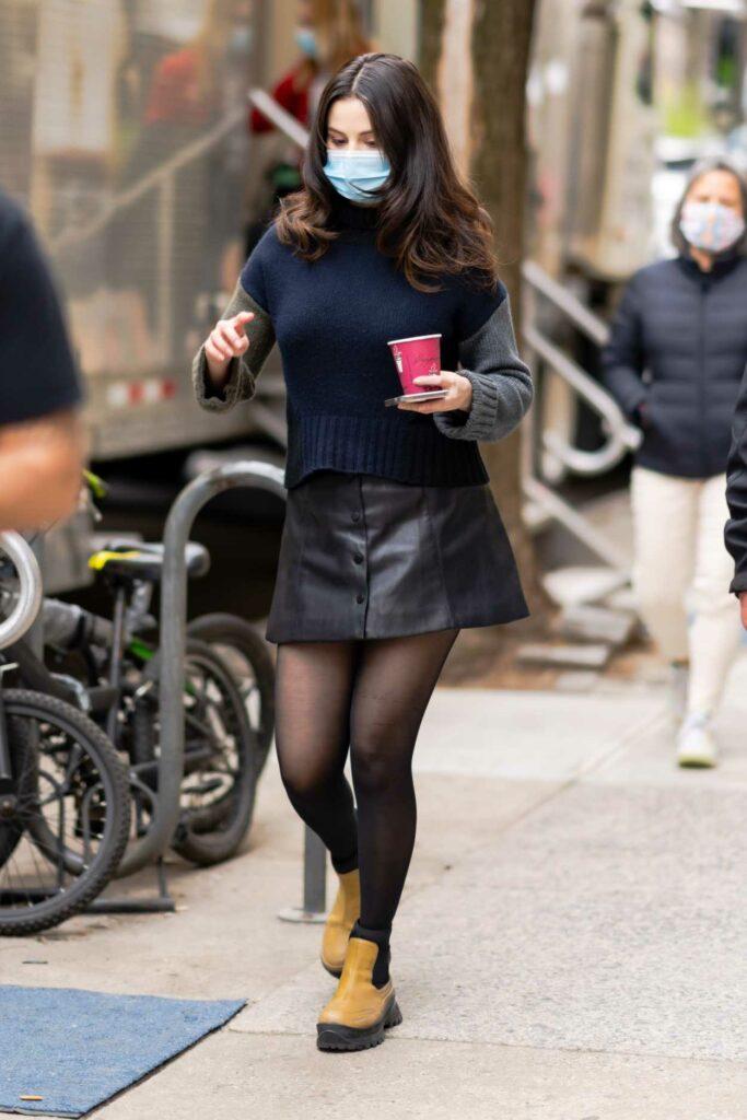Selena Gomez in a Black Leather Mini Skirt