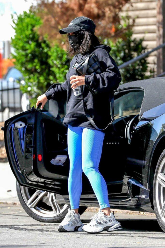 Vanessa Hudgens in a Blue Leggings