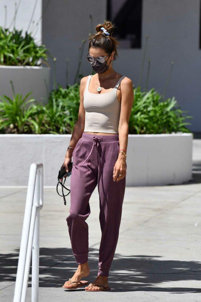 Alessandra Ambrosio in a Purple Sweatpants