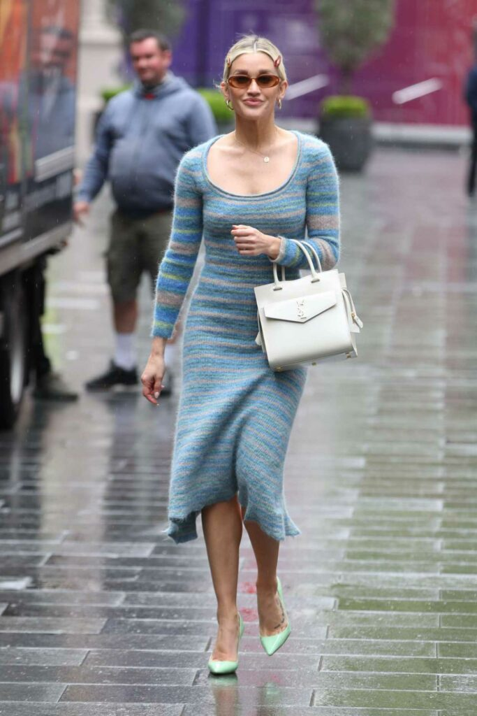 Ashley Roberts in a Blue Dress