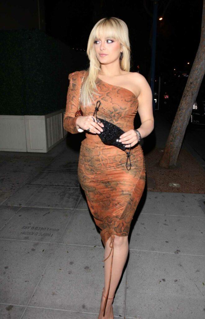 Bebe Rexha in a Tan Snake Print Dress