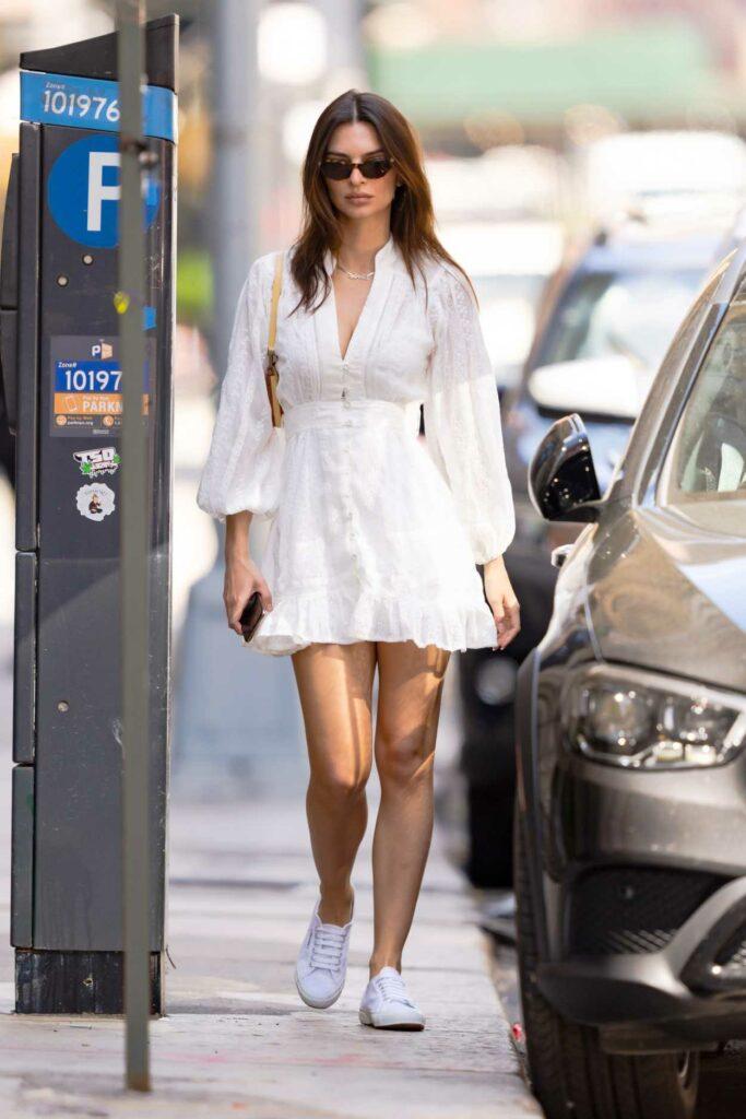 Emily Ratajkowski in a White Mini Dress