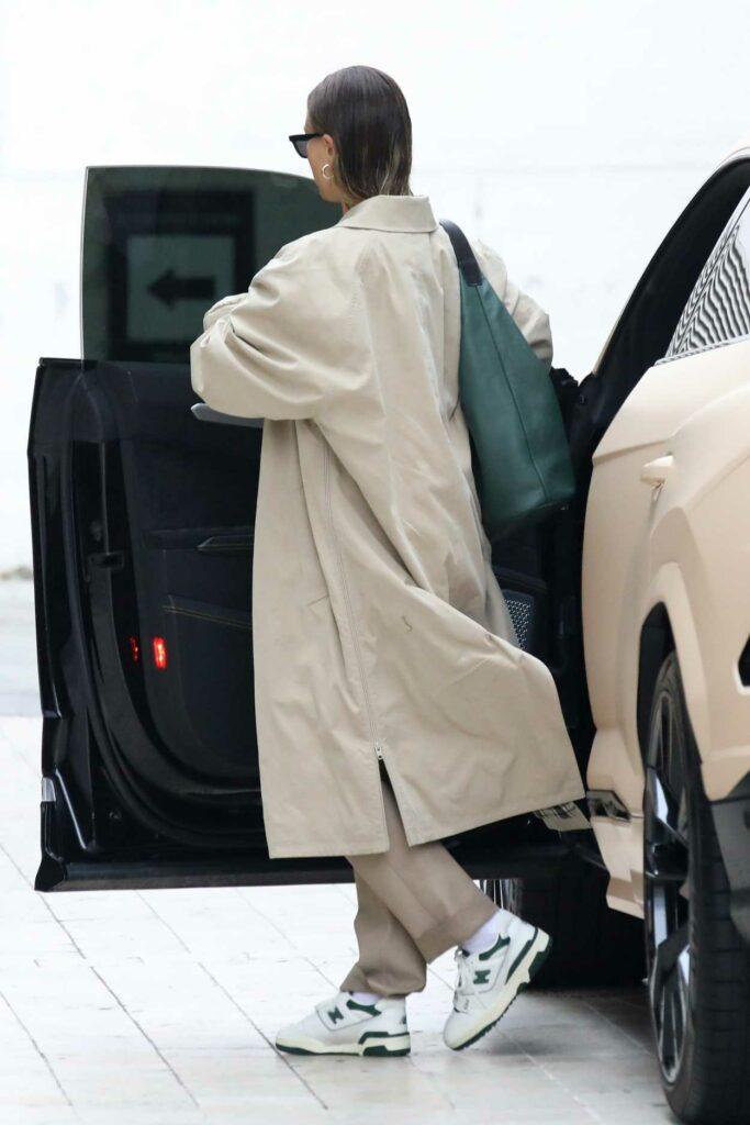 Hailey Bieber in a Beige Trench Coat