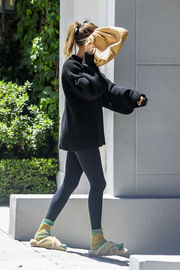 Hailey Bieber in a Black Oversized Sweater