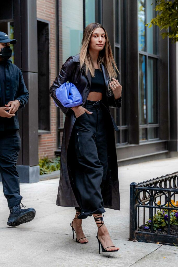 Hailey Bieber in a Brown Leather Coat