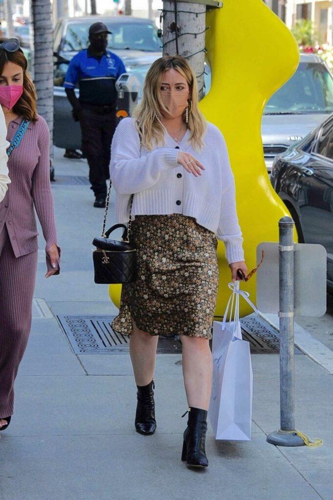 Hilary Duff in a Floral Dress