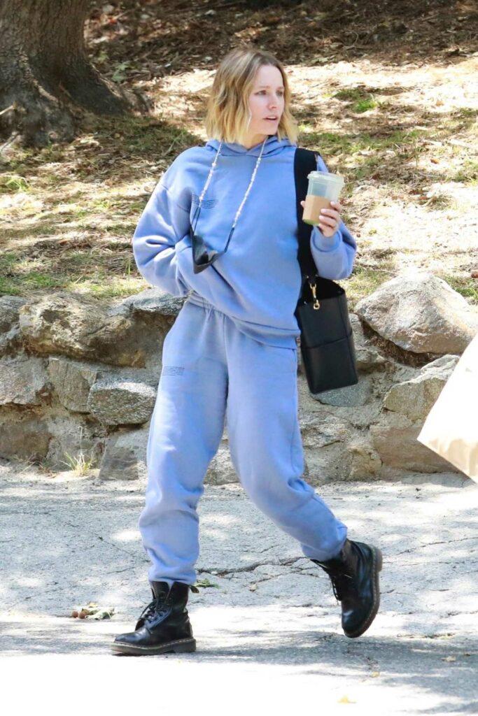 Kristen Bell in a Baby Blue Sweatsuit