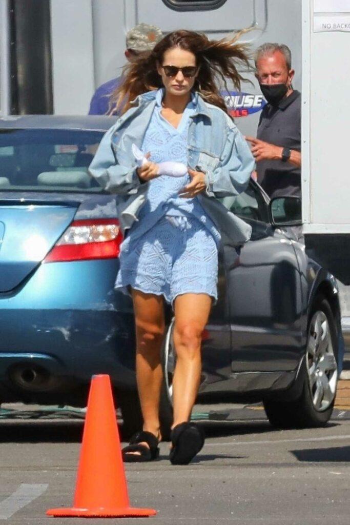 Lily James in a Blue Denim Jacket