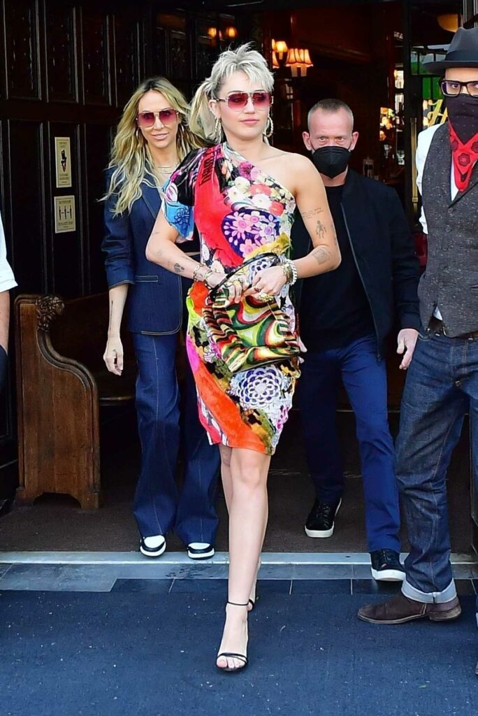 Miley Cyrus in a Floral Dress