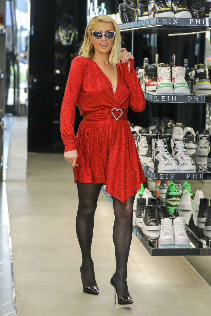 Paris Hilton in a Red Dress