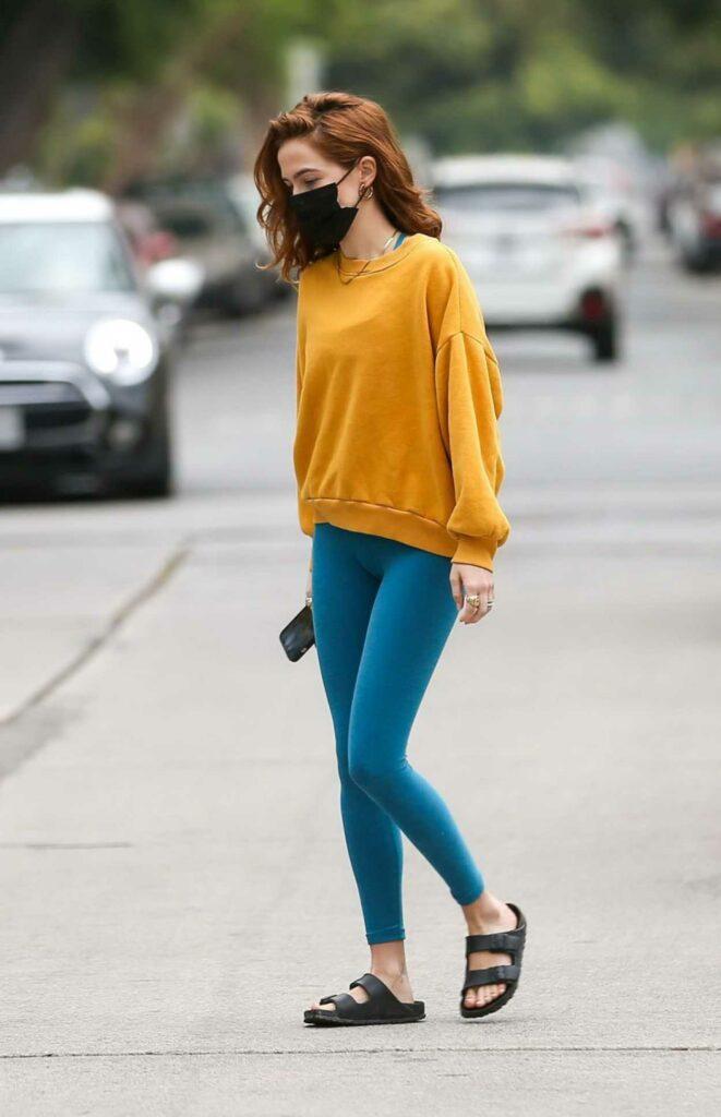 Zoey Deutch in a Yellow Sweatshirt