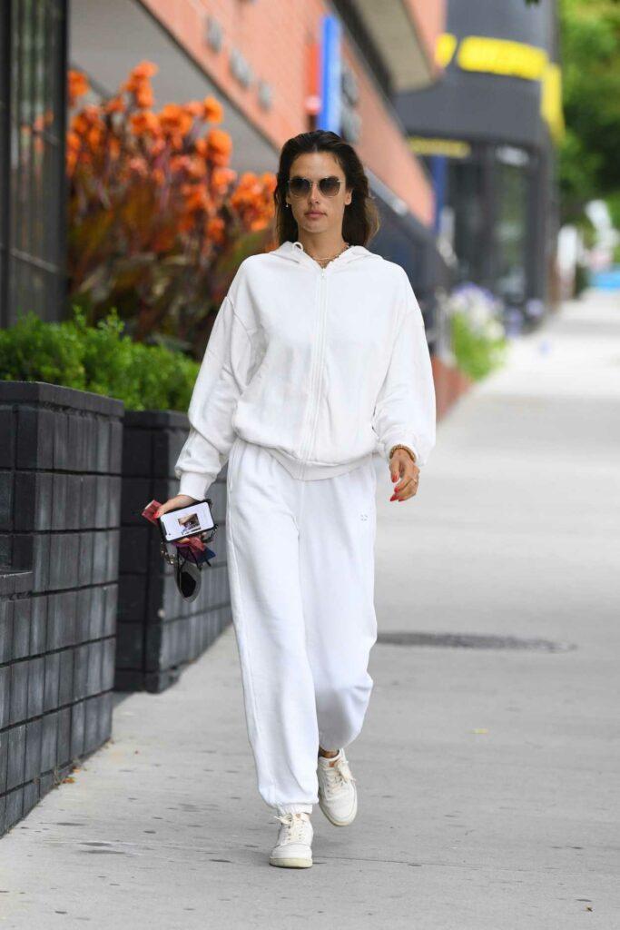 Alessandra Ambrosio in a White Sweatsuit
