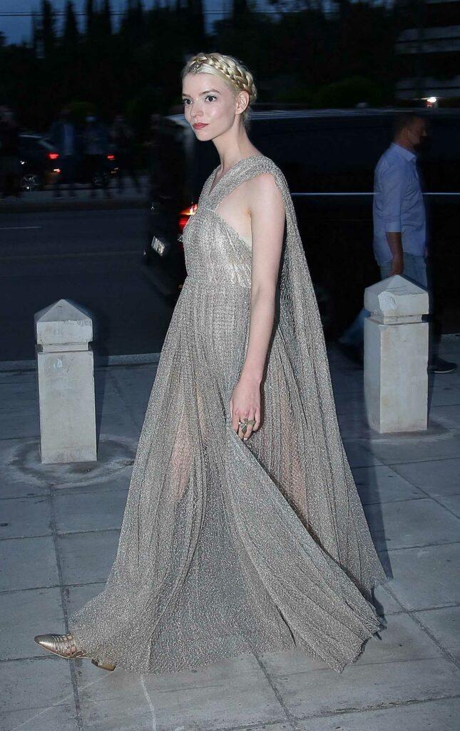 Anya Taylor-Joy in a Silver Dress