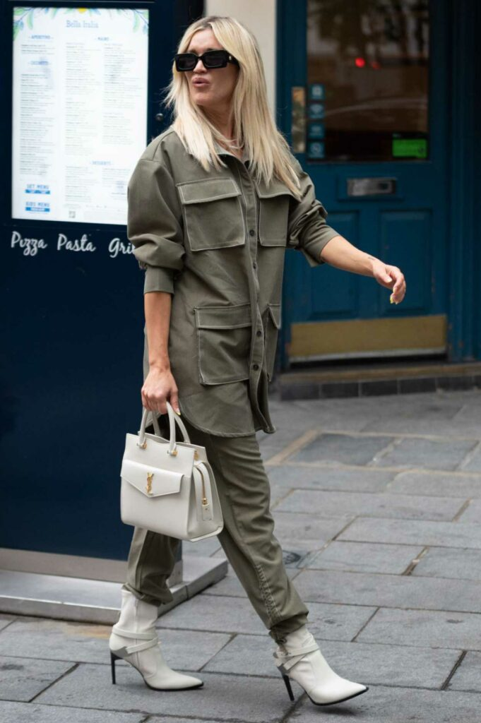 Ashley Roberts in an Olive Suit