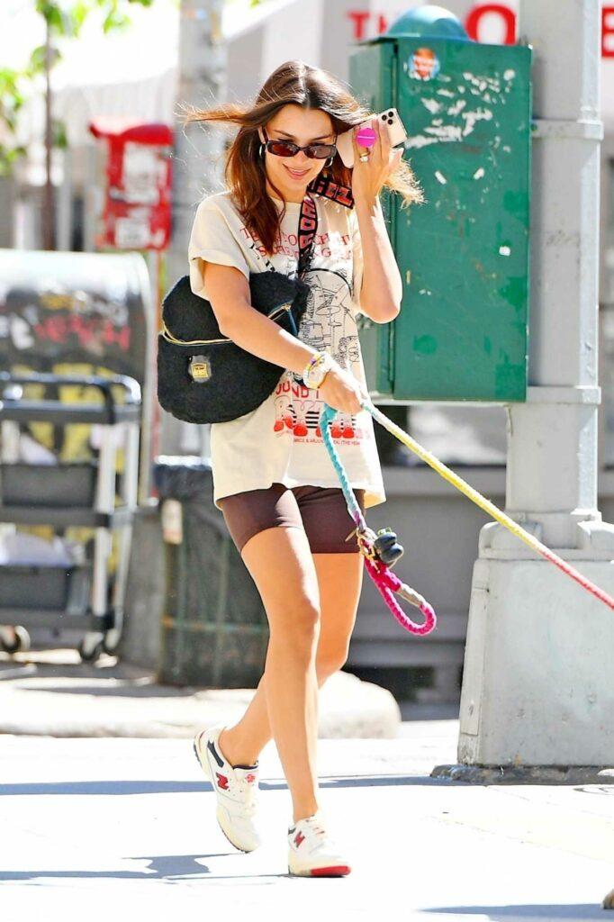 Emily Ratajkowski in a Black Spandex Shorts