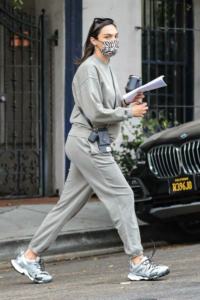 Gal Gadot in a Grey Sweatsuit