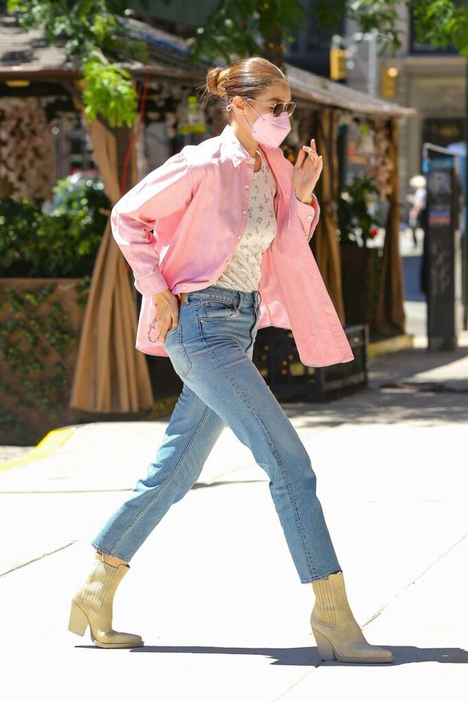 Gigi Hadid in a Pink Shirt