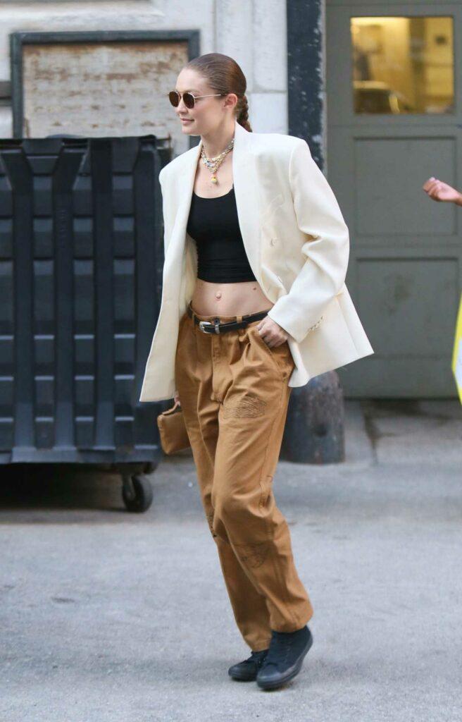 Gigi Hadid in a White Blazer