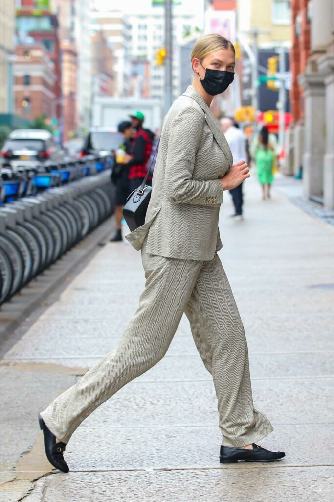 Karlie Kloss in a Grey Pantsuit