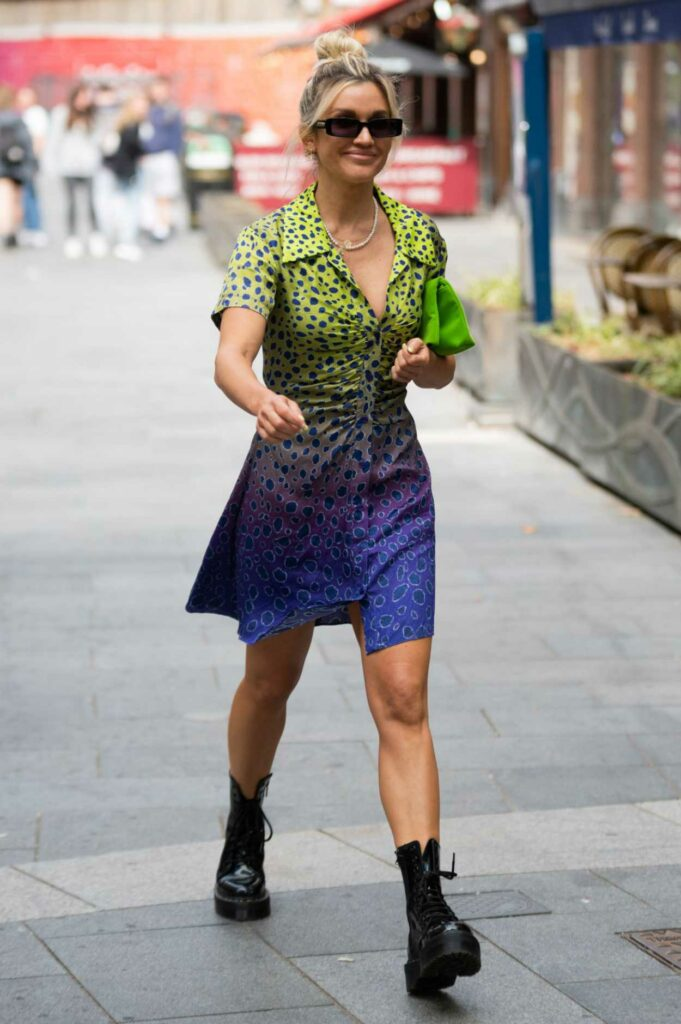 Ashley Roberts in a Colorful Animal Print Dress
