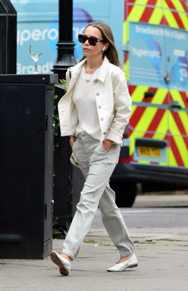 Emilia Clarke in a White Jacket
