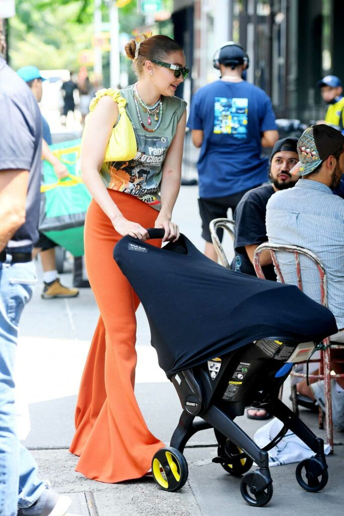 Gigi Hadid in an Orange Pants