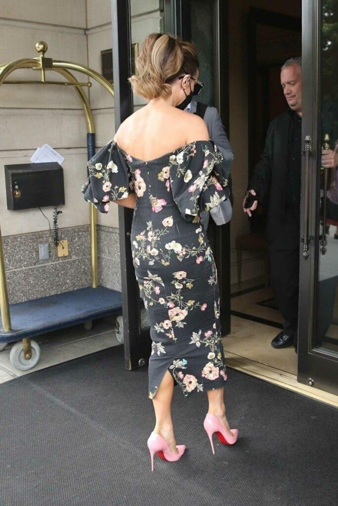 Kate Beckinsale in a Black Floral Dress