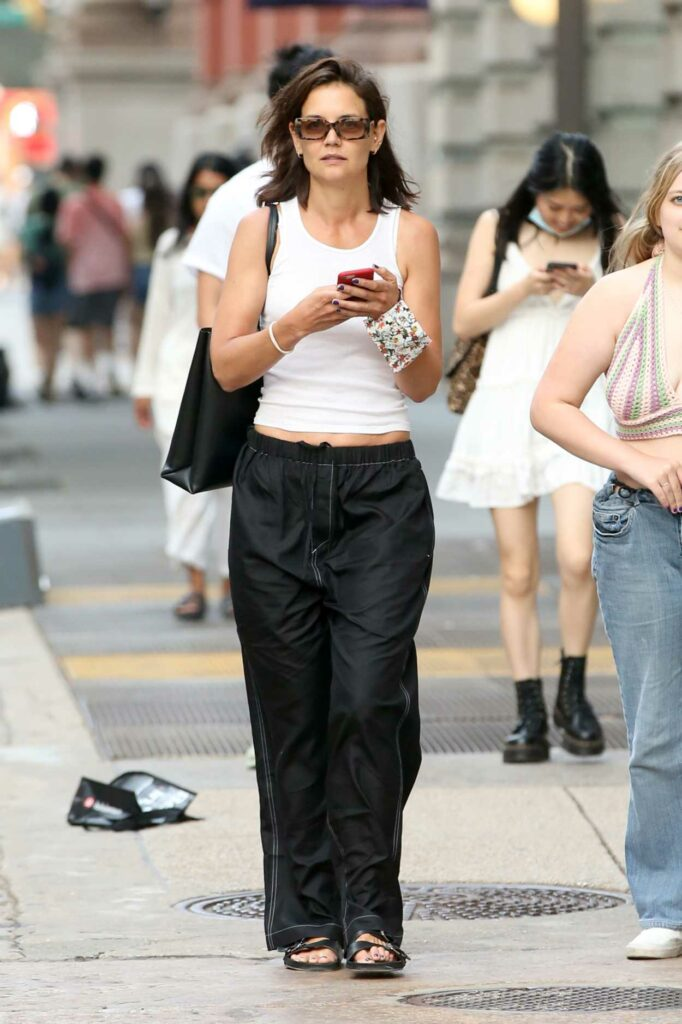Katie Holmes in a White Tank Top