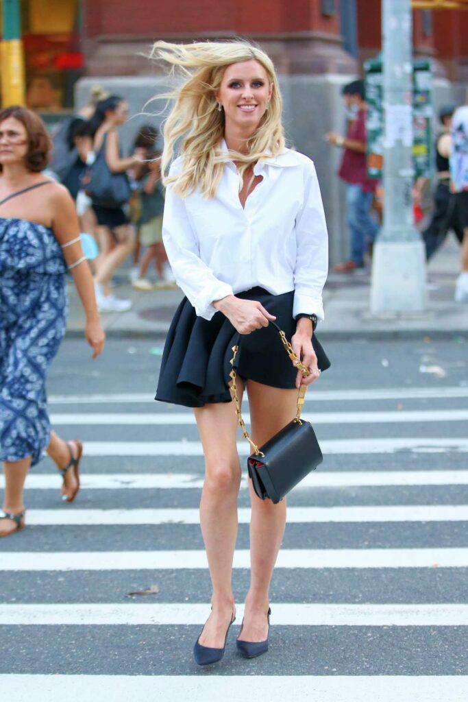 Nicky Hilton in a Black Mini Skirt