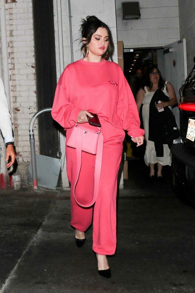 Selena Gomez in a Pink Sweatsuit