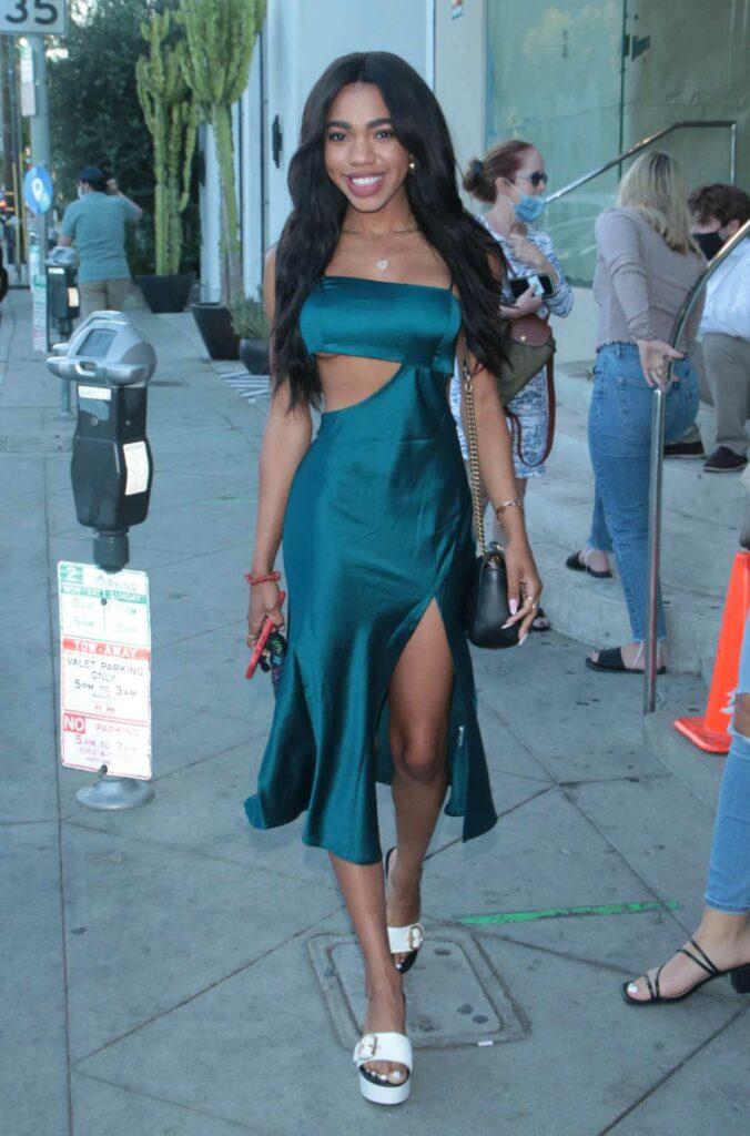 Teala Dunn in a Blue Dress