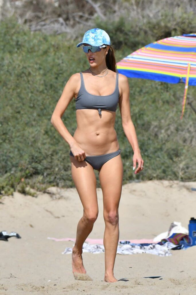 Alessandra Ambrosio in a Grey Bikini