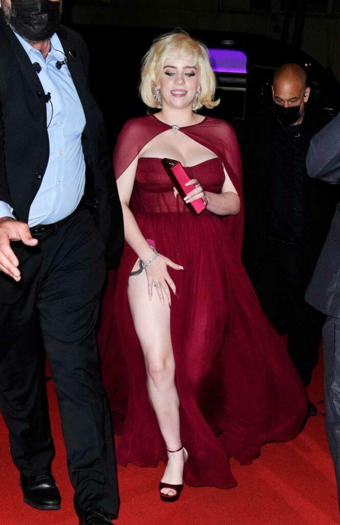 Billie Eilish in a Red Dress