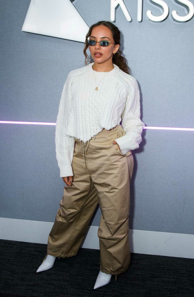 Jade Thirlwall in a Beige Pants