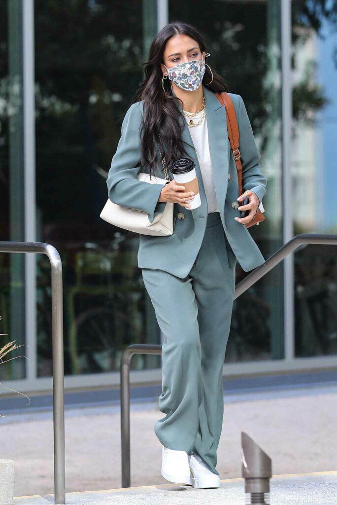 Jessica Alba in a Blue Pantsuit