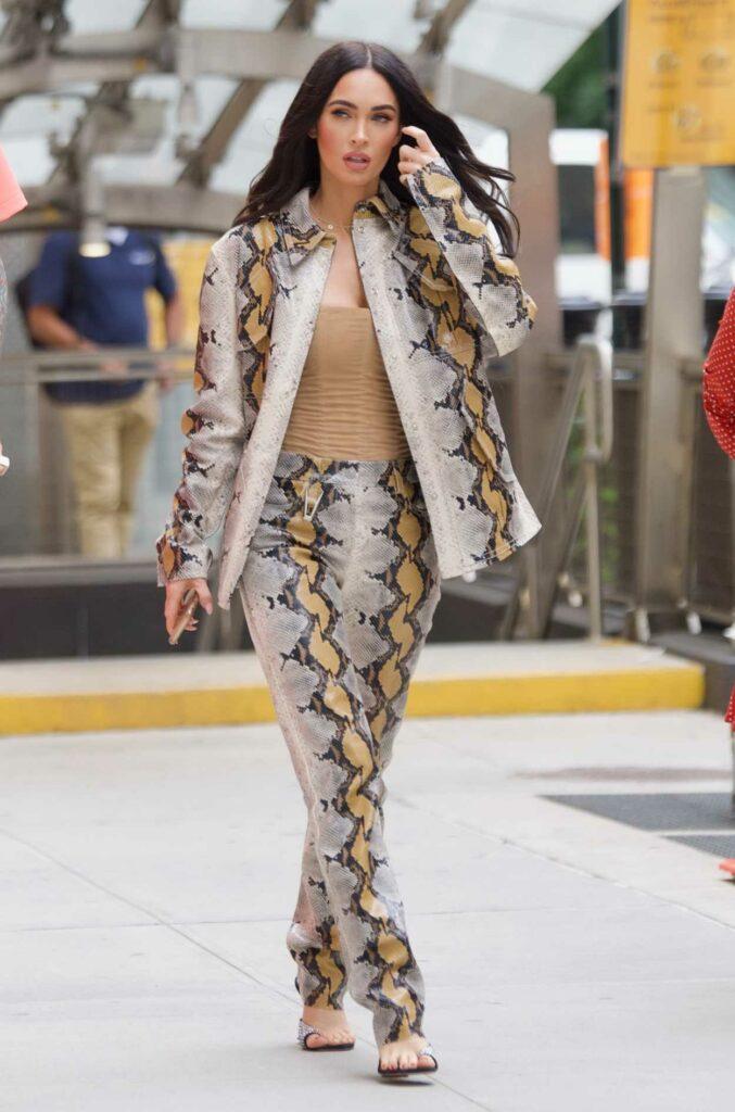 Megan Fox in a Snakeskin Print Suit