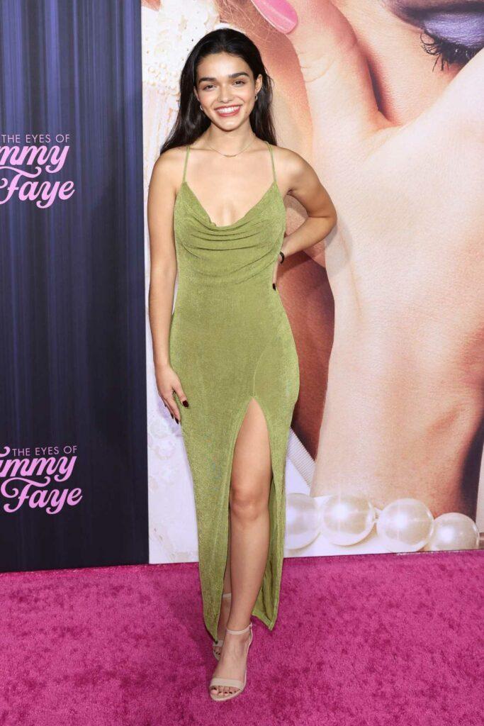 Rachel Zegler in a Green Dress