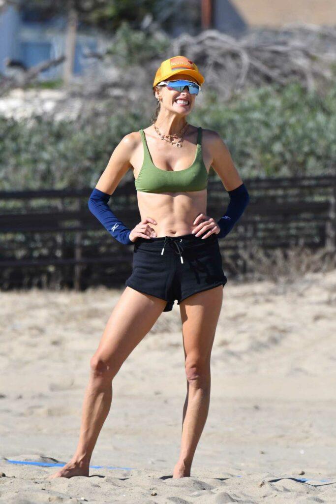Alessandra Ambrosio in a Green Sports Bra